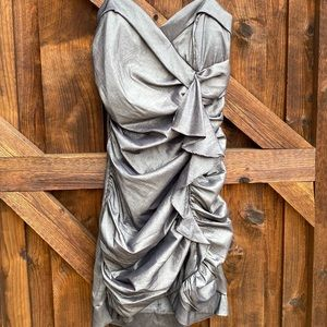Fiesta Ruched Charcoal Dress